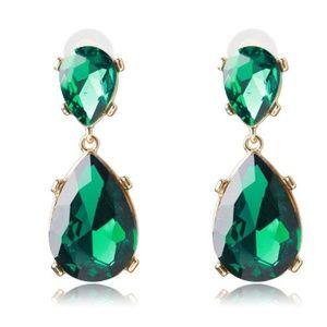 Statement Emerald Green Crystal Pierced Earrings